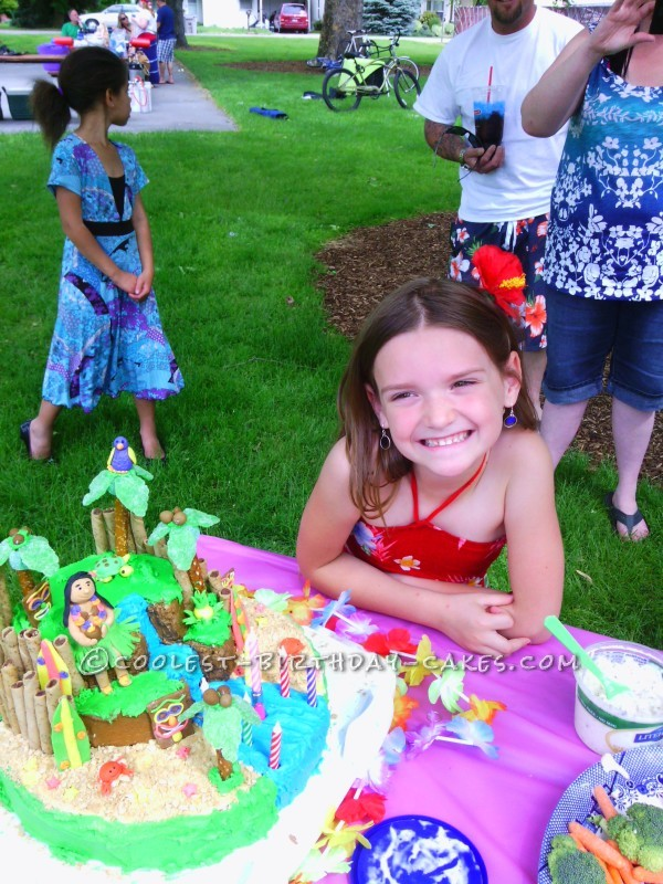 Beautiful Luau Cake for 7th Birthday