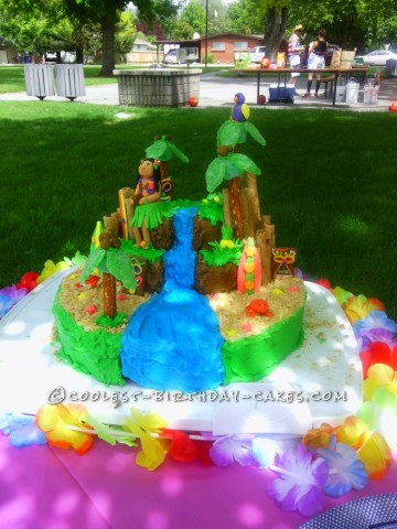Beautiful Luau Cake for 7th Birthday