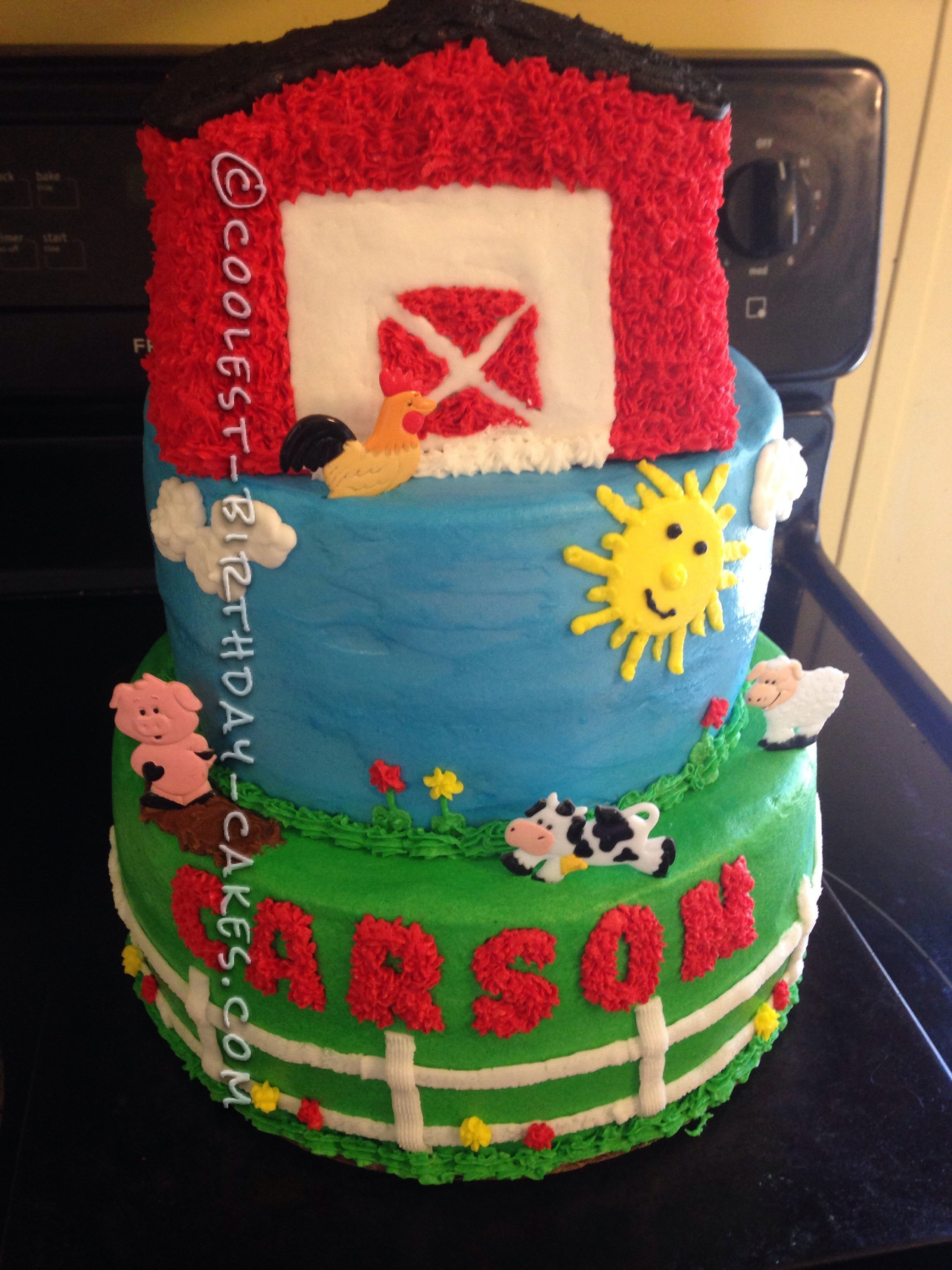 Cool 3-Tier Farm Cake for a First Birthday