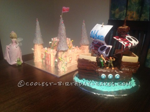Princess and Pirate Party Cakes for Boy Girl Twins Birthday