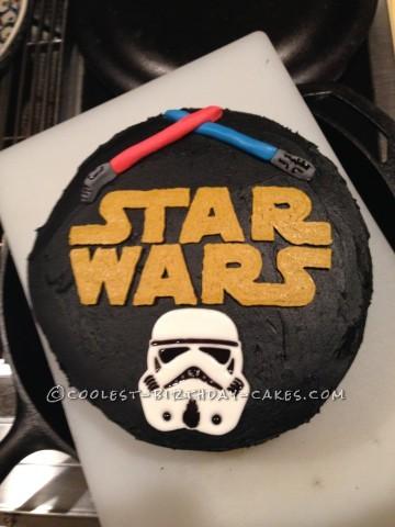 Star Wars Storm Trooper and Lightsaber Cake