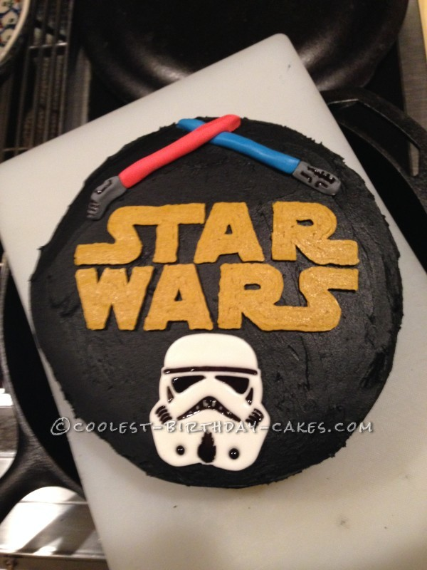 Star Wars Storm Trooper and Lightsaber Cake