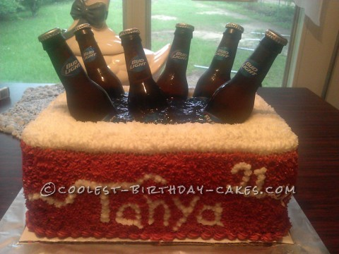 Beer Cooler Birthday Cake for a 21st Birthday Party