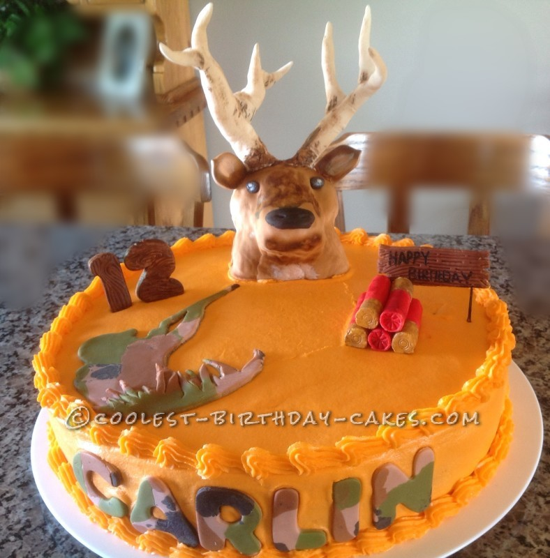 Enjoyable Coolest Homemade Hunting Cakes Personalised Birthday Cards Veneteletsinfo