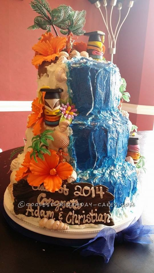 Graduation Birthday Cake Design : Coolest Luau Graduation Cake