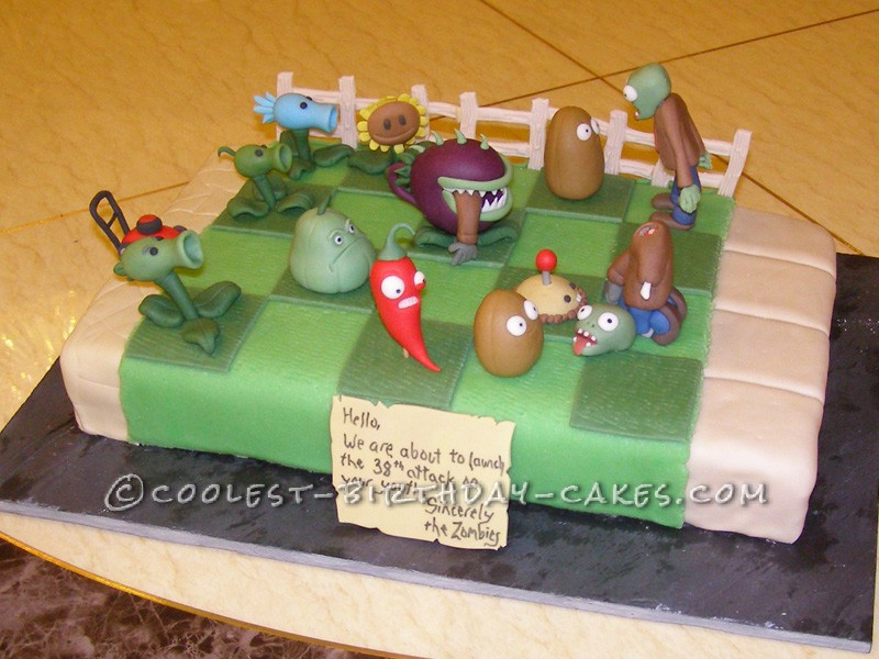 Magnificent Coolest Plants Vs Zombies Cake Personalised Birthday Cards Veneteletsinfo