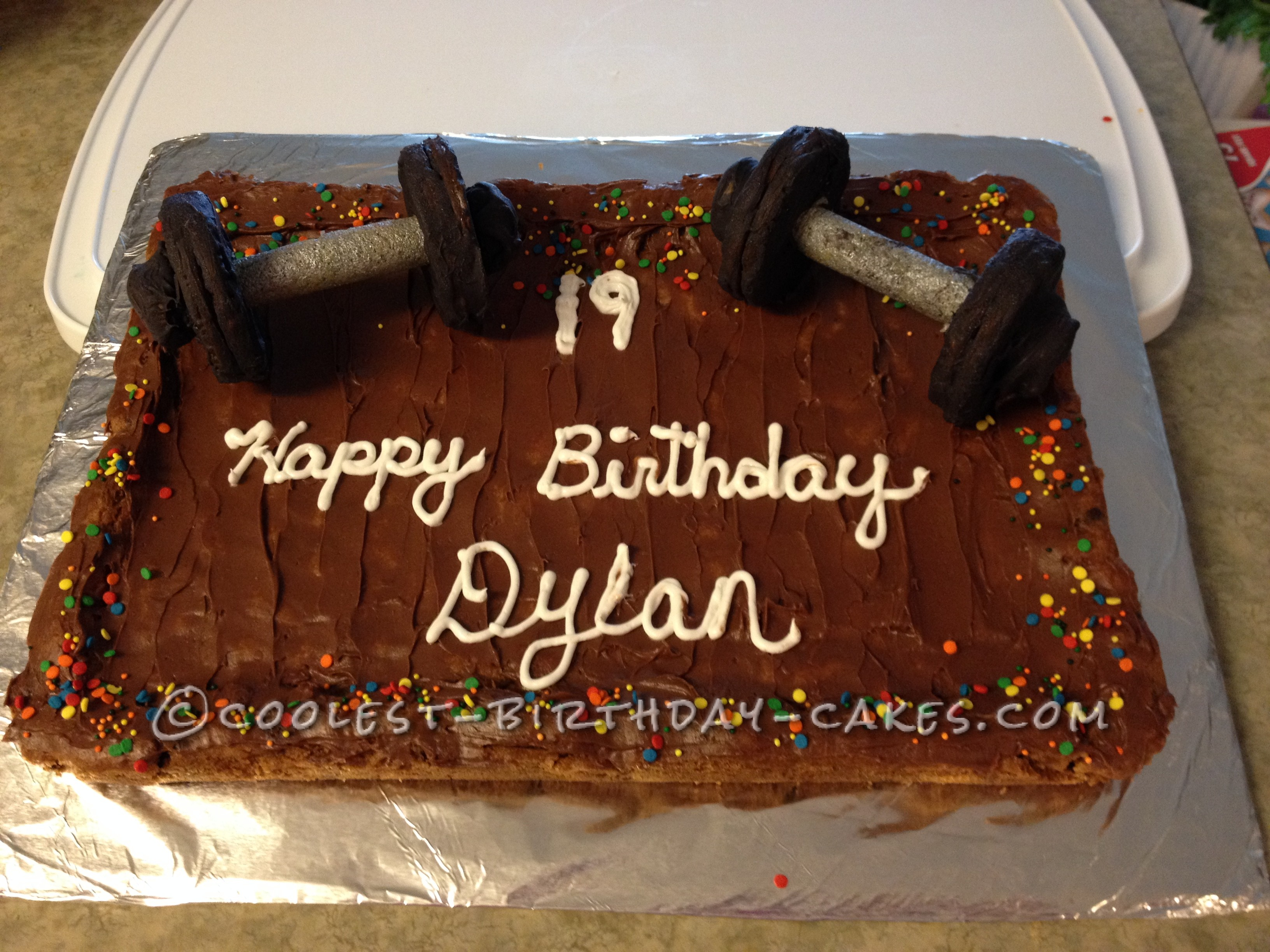 Weight Lifters Birthday Cookie Cake