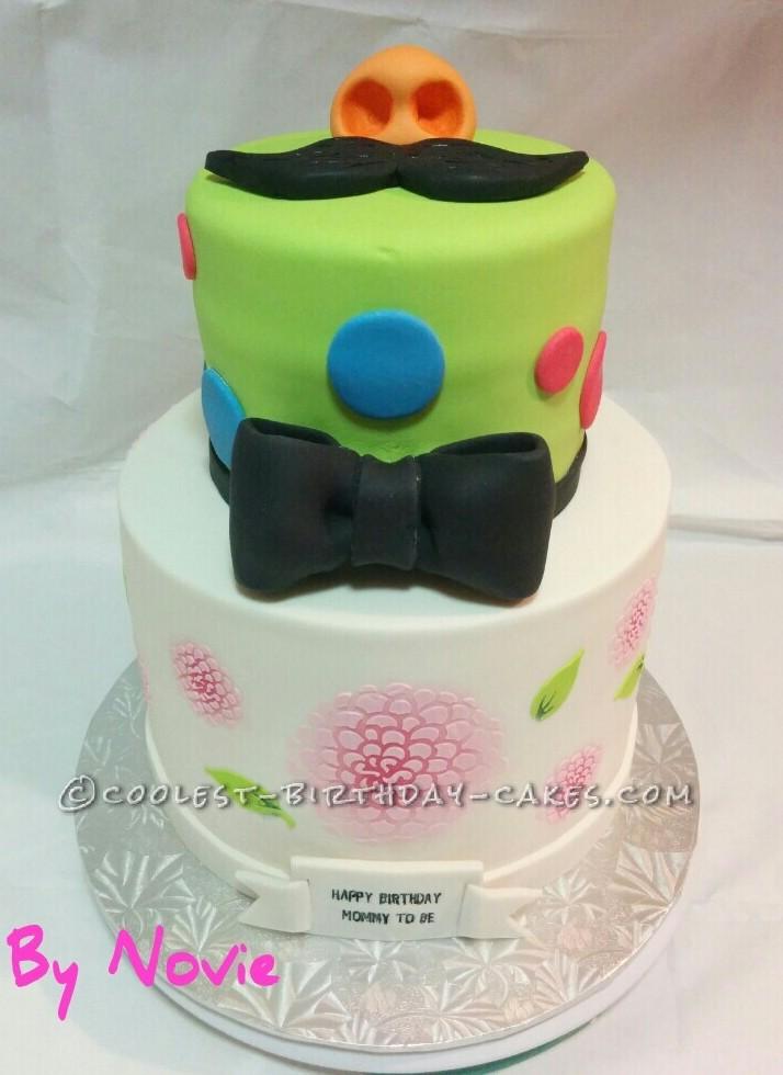 Birthday Baby Shower Mustache Cake