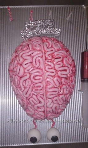 Brain Cake with Fake Blood