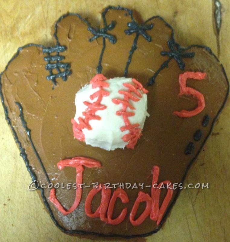 Coolest 5th Birthday Baseball Glove Cake