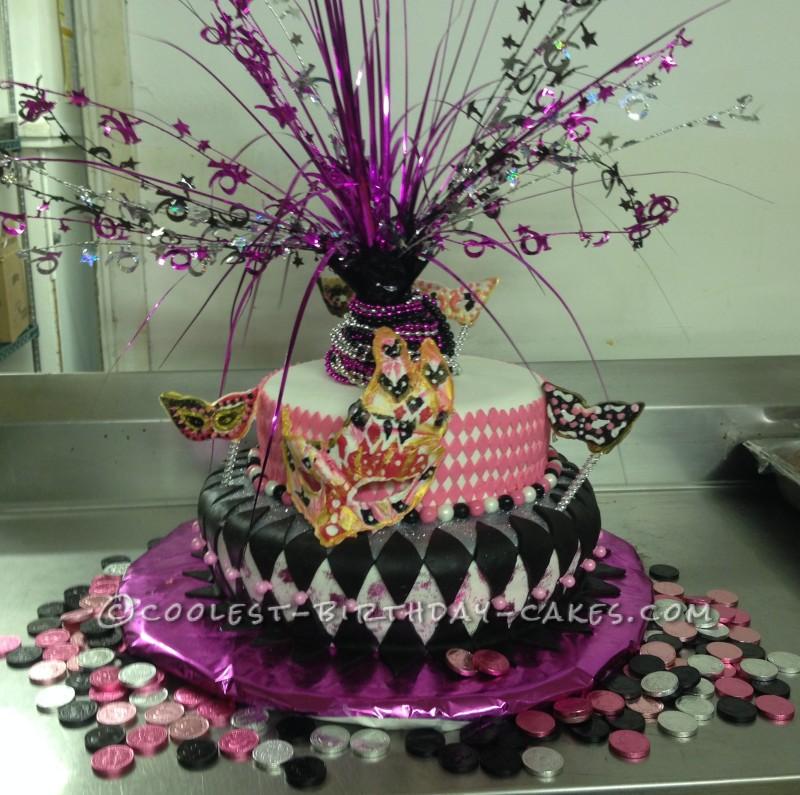 Coolest Sweet 16 Mardi Gras Theme Birthday Cake