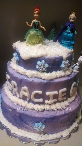 Three-Tiered Purple Frozen Cake