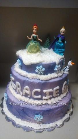 Three-Tiered Purple Frozen Cake
