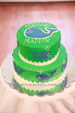 "A ""Whale"" of a 1st Birthday Cake"