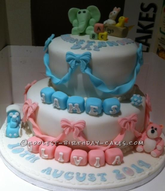 Boy Girl Christening Cake