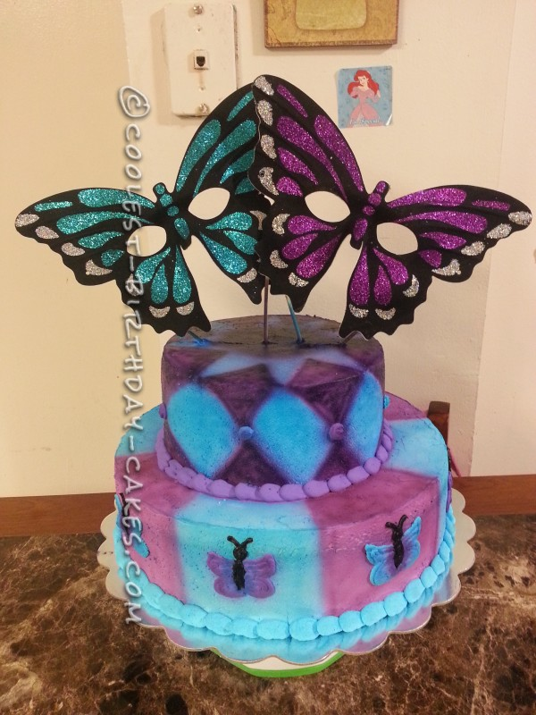 Coolest Butterfly Mask Birthday Cake