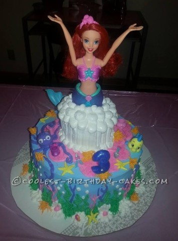 Coolest Little Mermaid Doll Cake