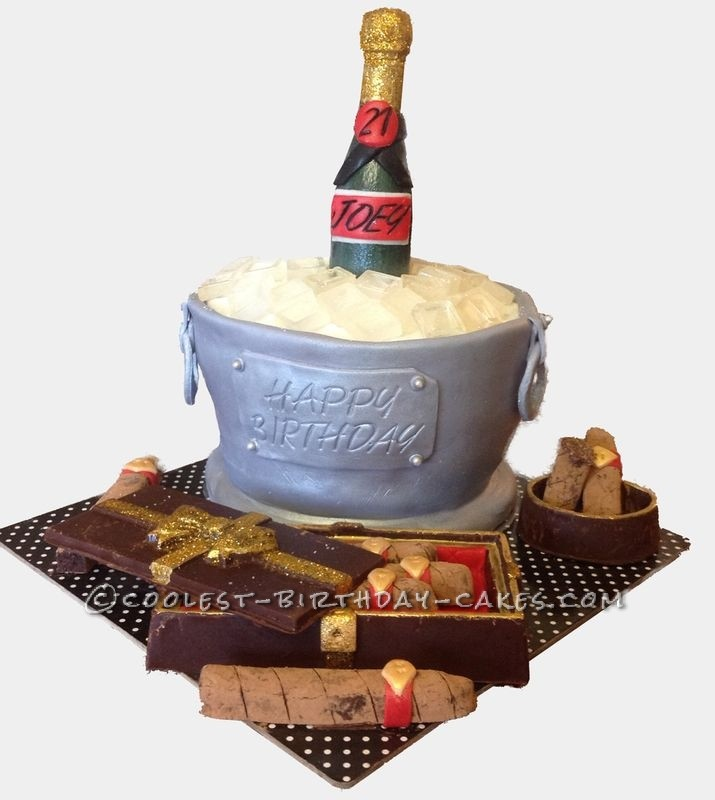 Light Up A Cigar And Have Drink 21st Birthday Cake