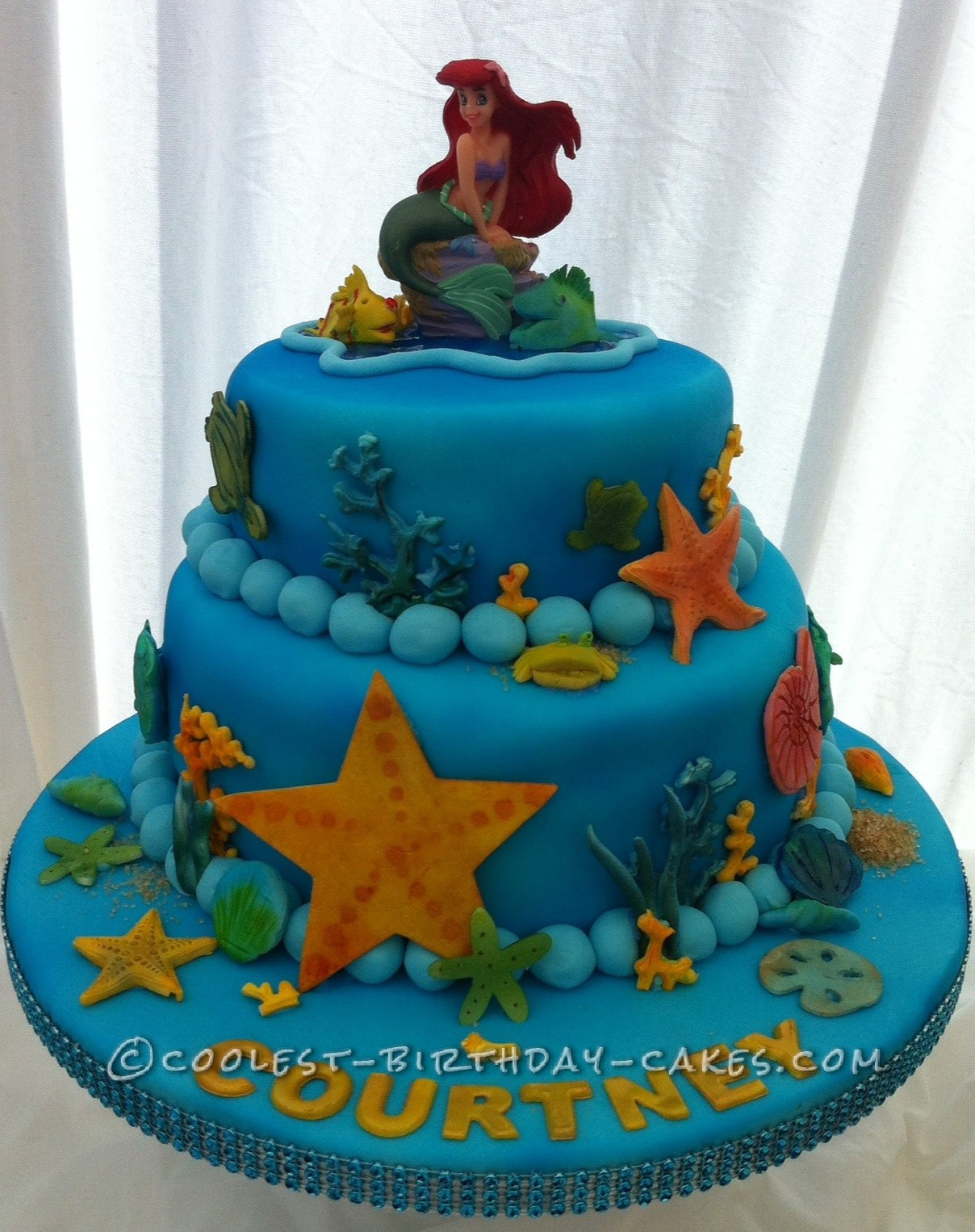 Cool Homemade 2-Tier Little Mermaid Cake