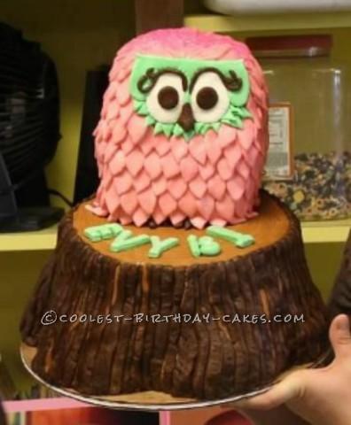 Owl First Birthday Cake