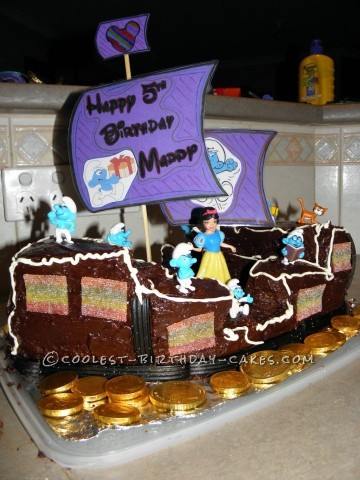 Snow White and the Seven Smurfs on a Pirate Ship Birthday Cake