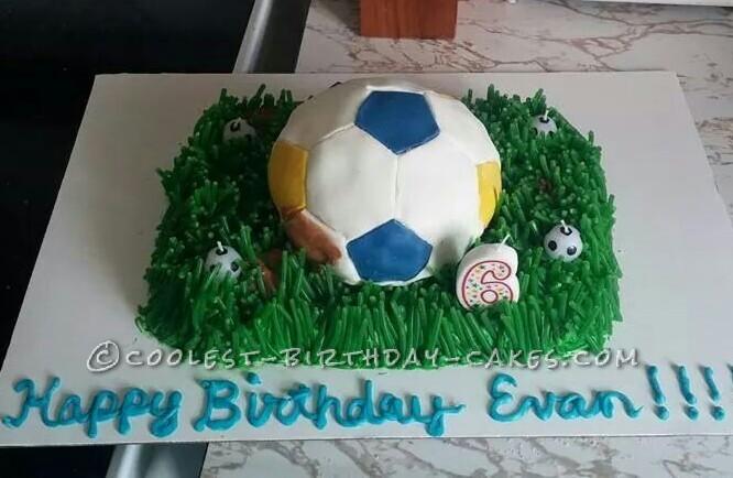 Sensational Cool Soccer Ball Cake For Sports Loving 6 Year Old Boy Funny Birthday Cards Online Unhofree Goldxyz