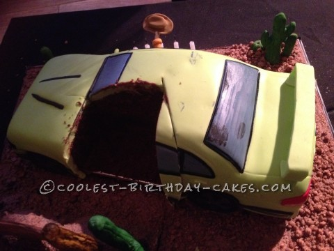 Inside the cake.. includig someones big finger prints lol...