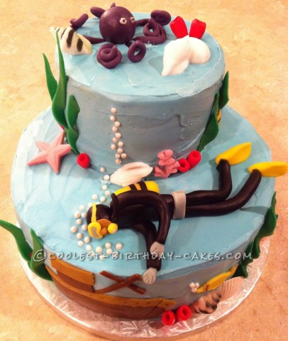 Scuba Diver Birthday Cake