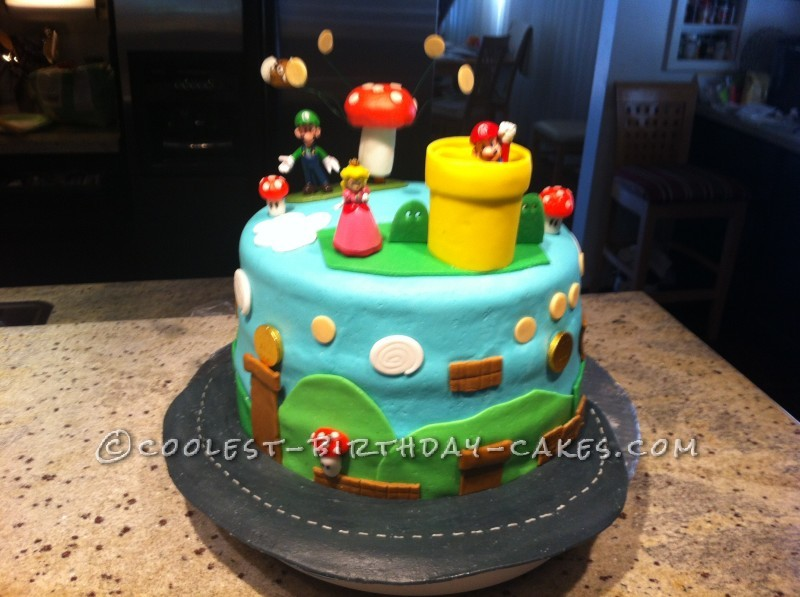 Peachy Cool Animated Mario Brothers Birthday Cake Funny Birthday Cards Online Alyptdamsfinfo