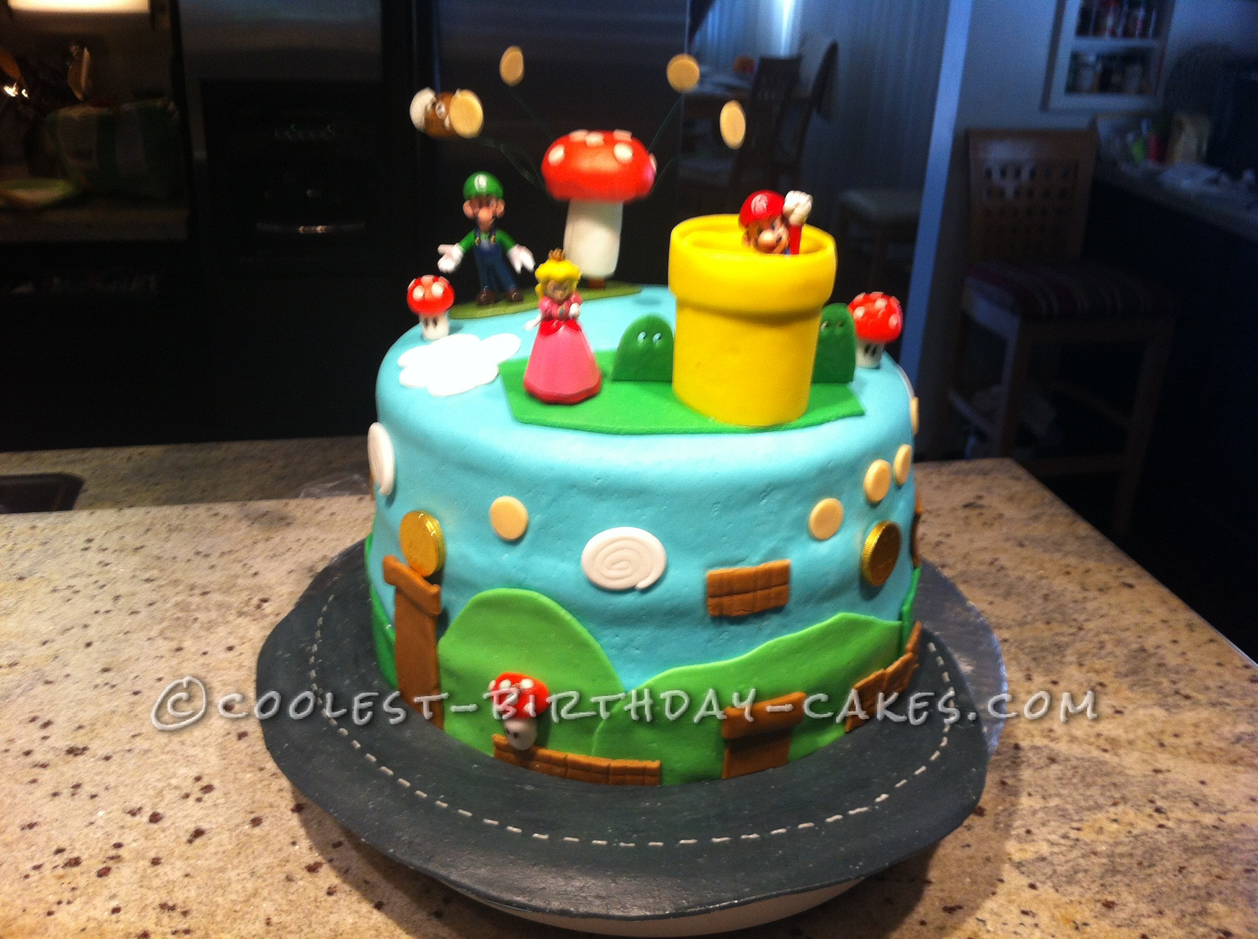 For This Animated Mario Brothers Cake I Had To Purchase 2 Pans 10X 3 1 Box Of Mix Per Pan Layers High One White And Two Chocolate