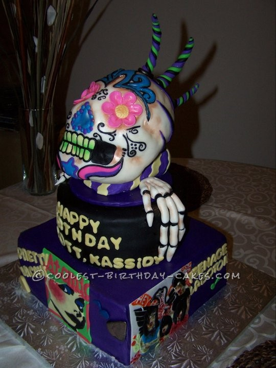 Cool Skull Cake With 70s Zombie Style Band Covers