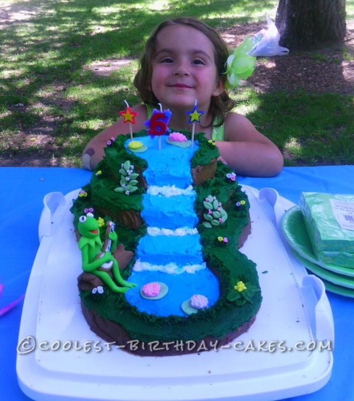 Cute Kermit on a Waterfall Cake