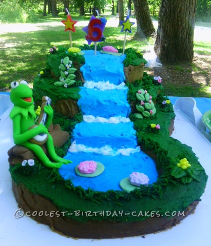 Cute Kermit on a Waterfall Cake