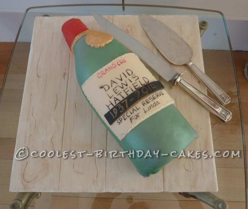 Wine Bottle Remembrance Cake to Celebrate David's Life