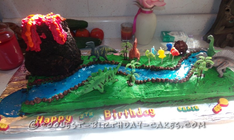 Cool Volcano and Jurassic Scene Cake