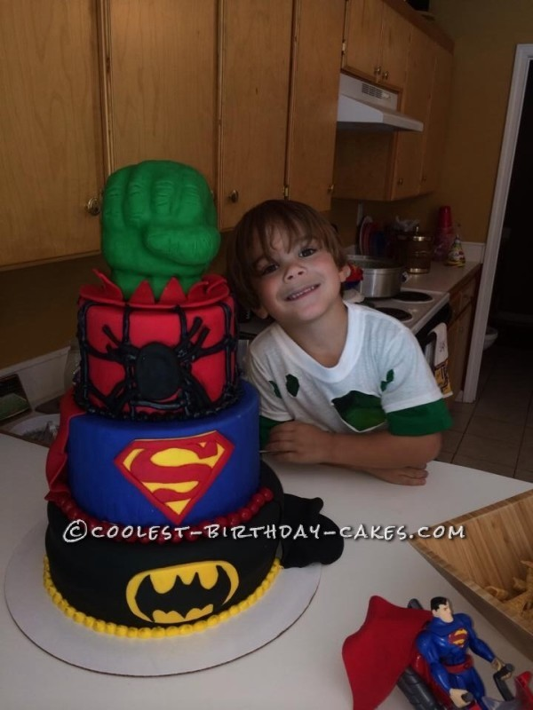 Cool Homemade Super-Hero Themed Cake