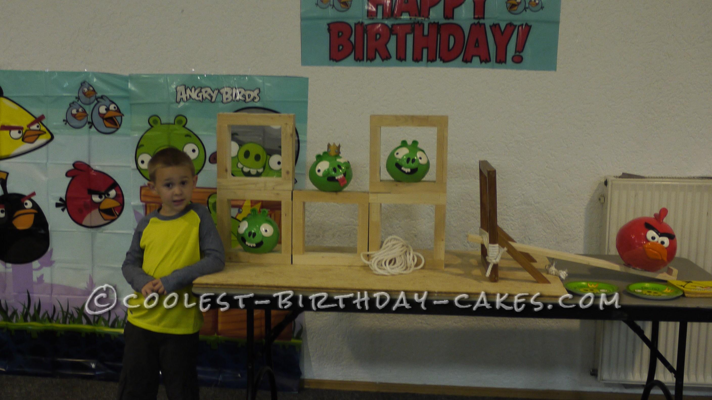 Angry Bird Theme Cake with Real Slingshot