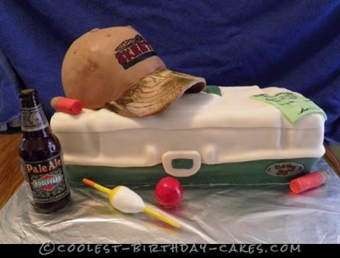 Surprise Fishing and Hunting Birthday Cake