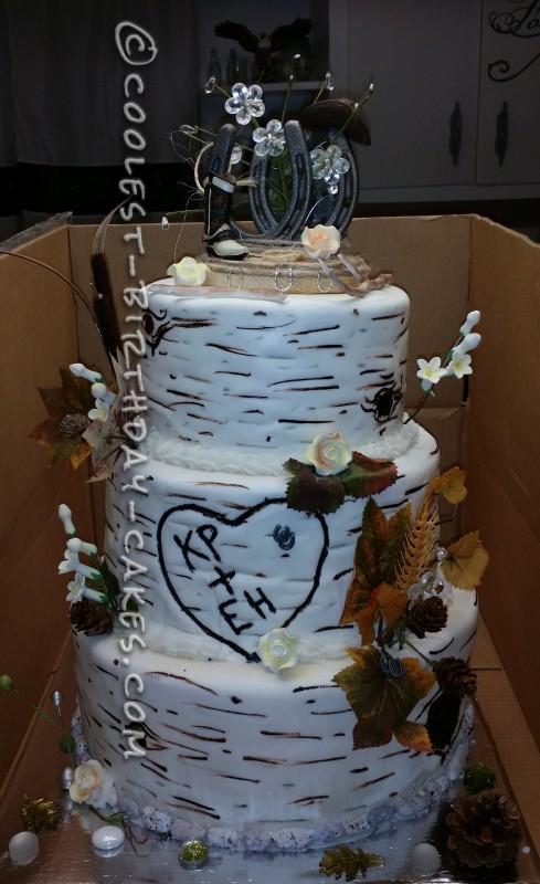 Cool Aspen Tree Western Wedding Cake