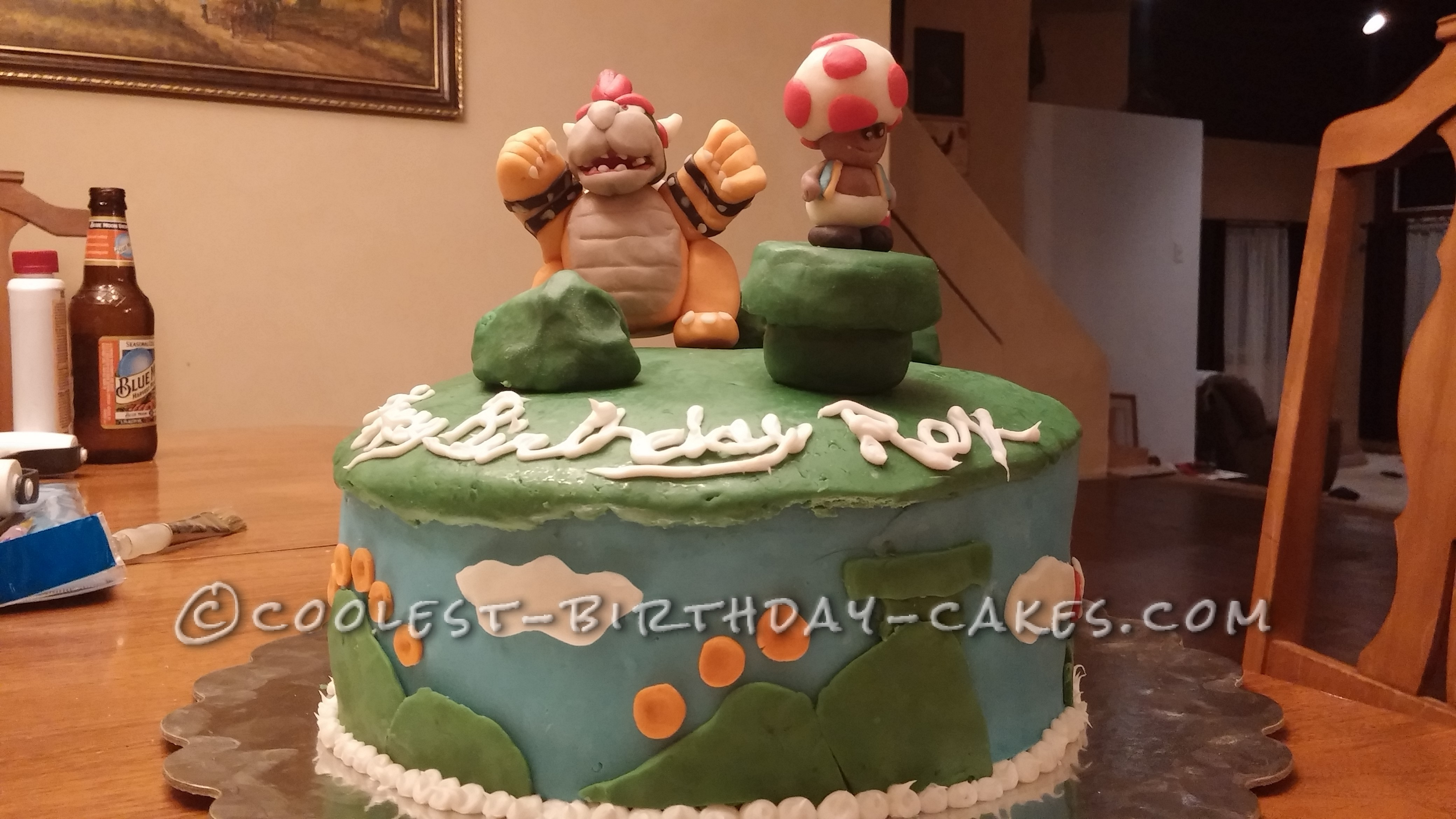Cool Homemade Bowser and Toad Cake