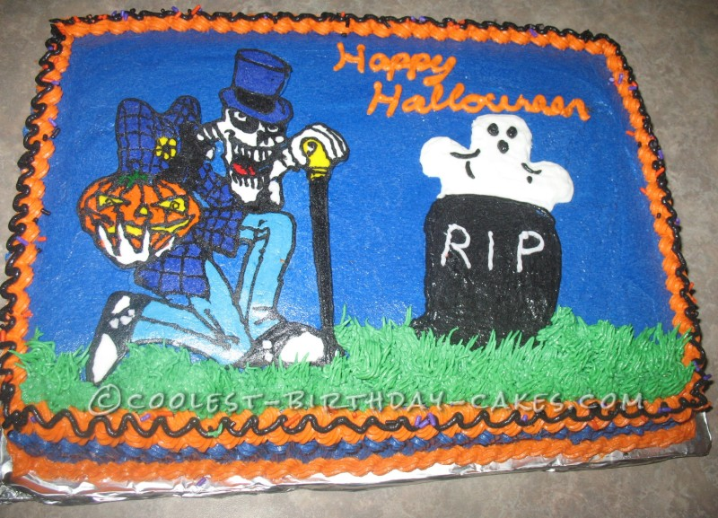 RIP Halloween Skeleton Cake