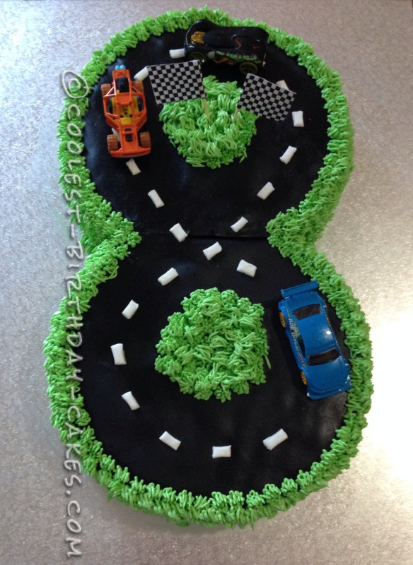 Wondrous Number 8 Race Track Cake Funny Birthday Cards Online Eattedamsfinfo