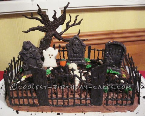Coolest Spooky Graveyard Cake