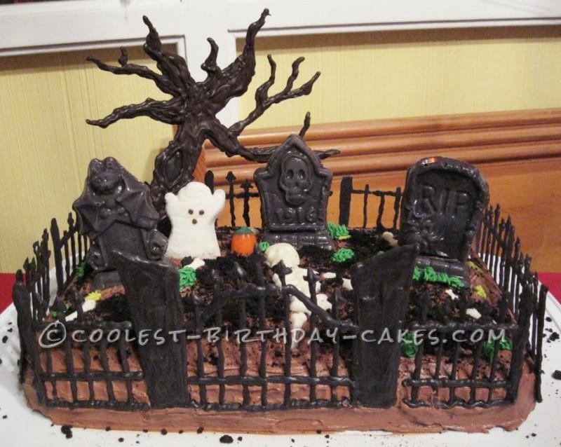 Coolest Spooky Graveyard Cake