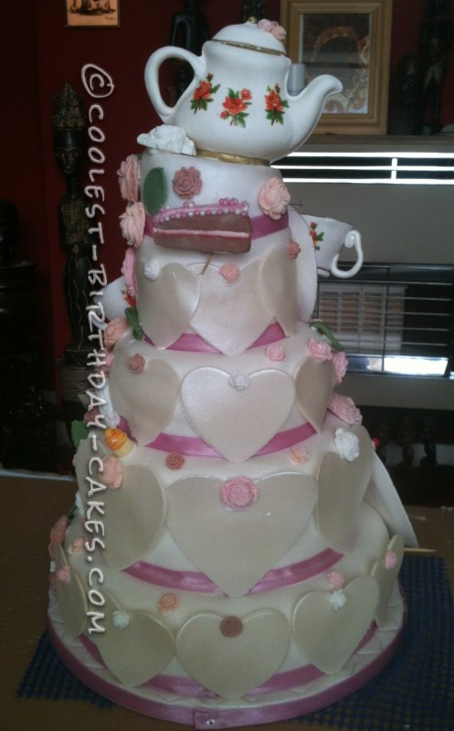 4 Tier Tea Party Themed Wedding Cake