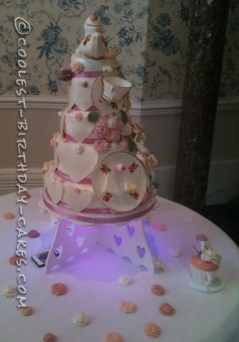 4 Tier Tea Party Themed Wedding Cake