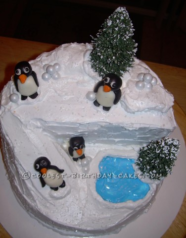 Coolest Penguin Christmas Birthday Party Cake