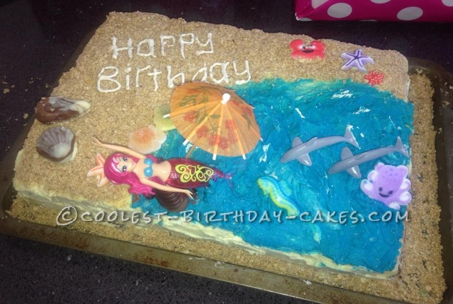 Cool 6th Birthday Mermaid Beach Cake