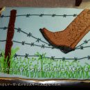 Barbed Wire and Cowboy Boot Birthday Cake