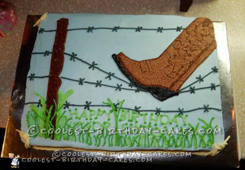 Outstanding Barbed Wire And Cowboy Boot Birthday Cake Funny Birthday Cards Online Alyptdamsfinfo